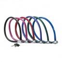 Câble Master Lock 8630-F de couleur noire, rose, rouge, bleu clair, vert et bleu foncé