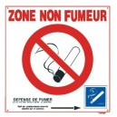 Panneau PVC Cigarette Barrée + Zone Non Fumeur + décret 200 x 200mm