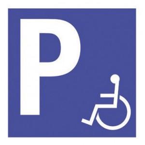 Panneau Alluminium Place de Parking Handicapés 350 x 350mm