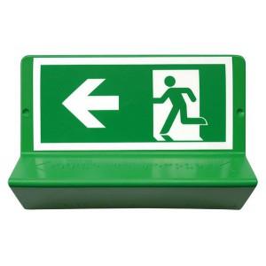 Panneau de signalisation en braille « Evacuation à gauche »