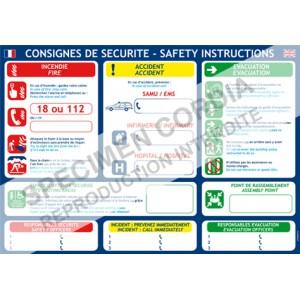 Consigne securité A3 Français/anglais
