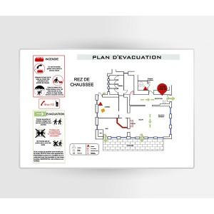 Impression Plan d'Evacuation sur PVC A3 420 x 297mm