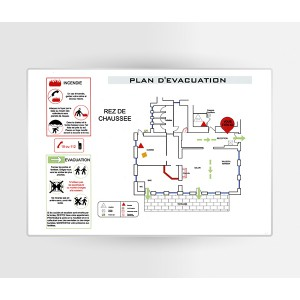Impression Plan d'Evacuation sur PVC A5 210 x 148mm