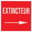 Panneau Extincteur Plexiglas Flèche Droite 200 x 200mm