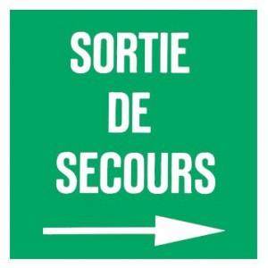 Panneau Sortie de Secours plexiglas Flèche Droite 100 x 100mm