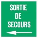 Panneau Sortie de Secours plexiglas Flèche Gauche 100 x 100mm
