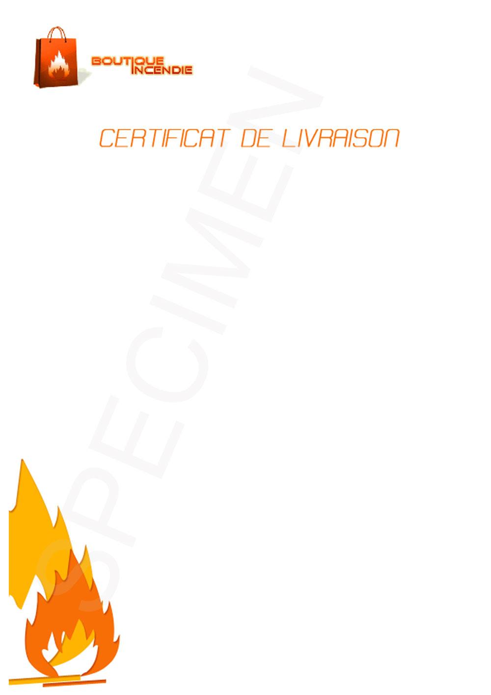 Certificat de livraison Boutique Incendie